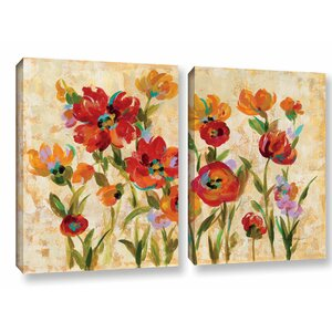 'July in the Garden I' 2 Piece Painting Print on Canvas Set by Andover Mills