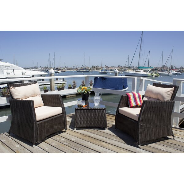 Devon 3 Piece Rattan Conversation Set with Cushions by Breakwater Bay