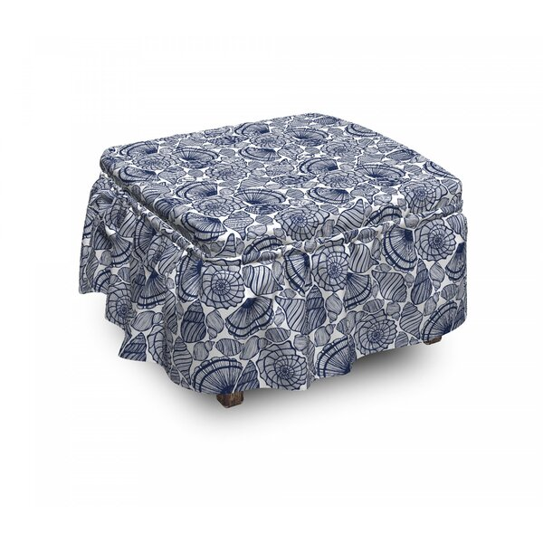 Aquatic Animals Lines 2 Piece Box Cushion Ottoman Slipcover Set By East Urban Home