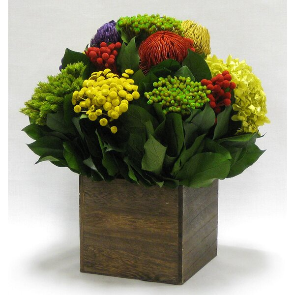 Mixed Floral Centerpiece in Wooden Cube Container by August Grove