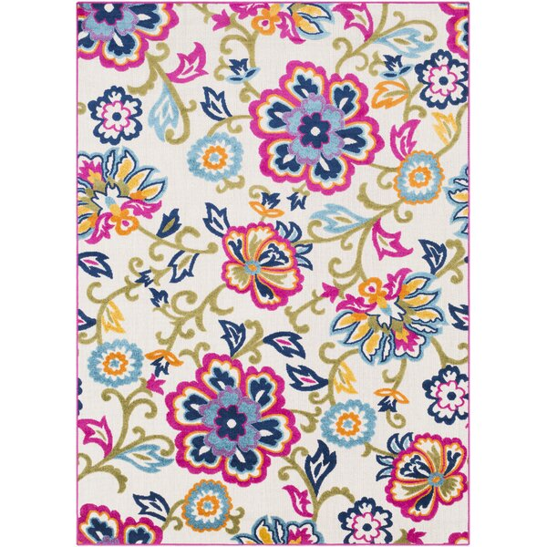 Avonmore Bright Pink/Cream Outdoor Area Rug by Ebern Designs