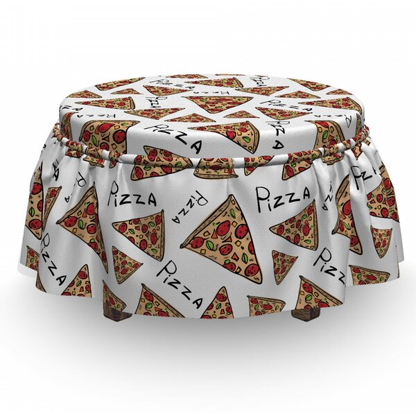 Pizza Doodle Art Slices 2 Piece Box Cushion Ottoman Slipcover Set By East Urban Home