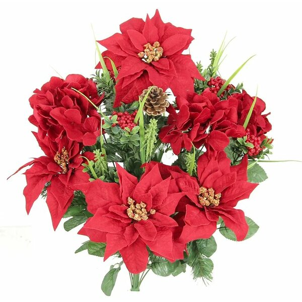 Christmas Themed Mixed Flower Arrangement with Poinsettias and Hydrangea. by Admired by Nature