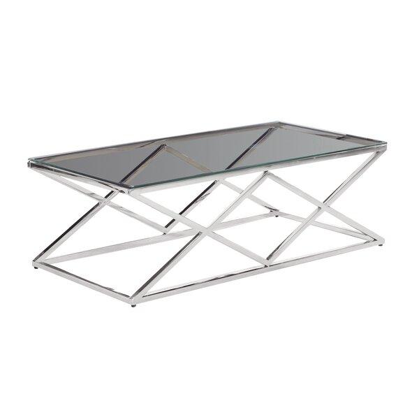 Clearfield Metal/Glass Diamond Coffee Table by Orren Ellis