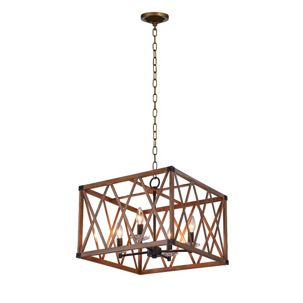 Haskin 4 - Light Unique / Statement Rectangle / Square Chandelier By Gracie Oaks