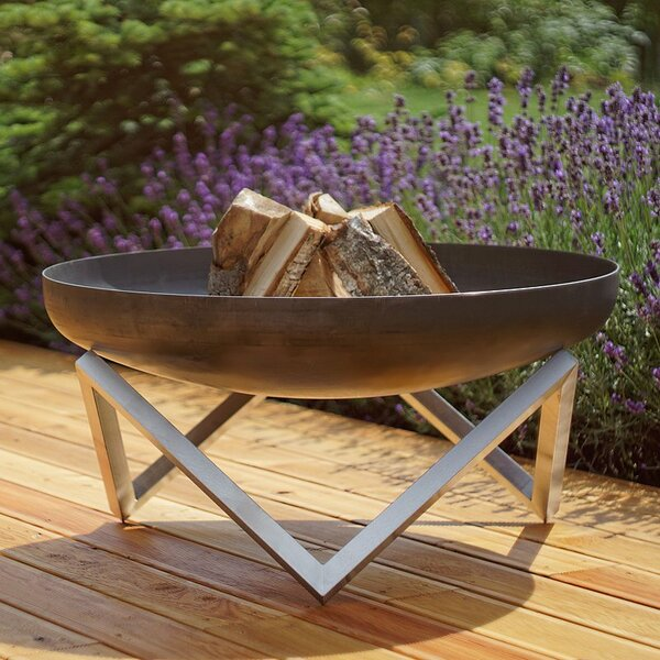 Memel Stainless and Rusting Steel Wood Burning Fire Pit by Curonian