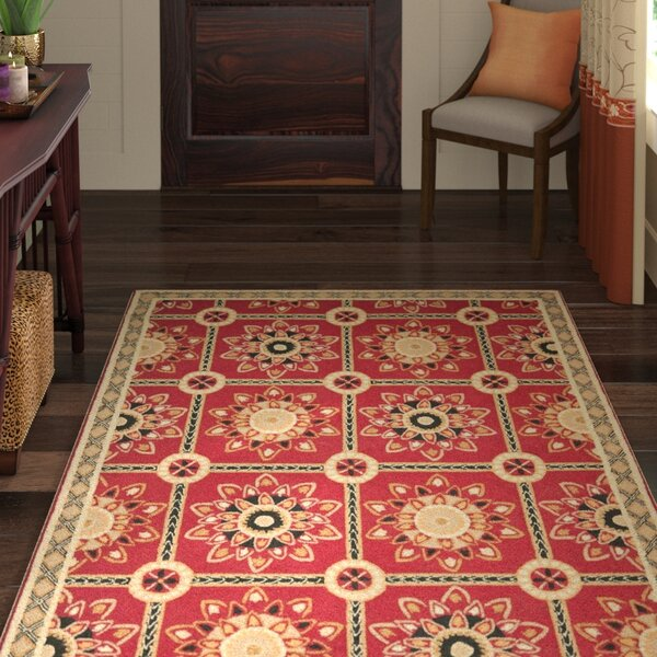 Noham Hand-Hooked Red/Natural Area Rug by World Menagerie