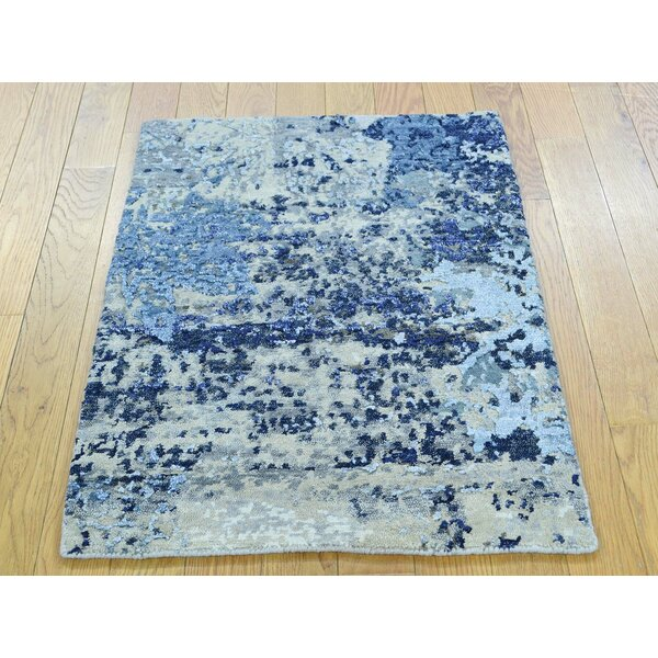 One-of-a-Kind Brimfield Abstract Design Handwoven Wool/Silk Area Rug by Isabelline