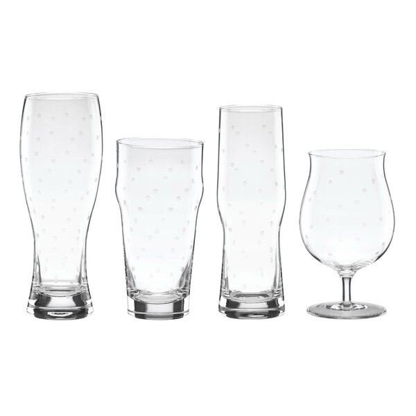 Larabee Dot 4 Piece 22 oz. Variety Beer Glass Set by kate spade new york