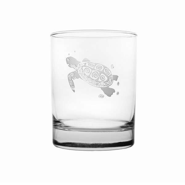 Sea Turtle 14 oz. Double Old Fashioned (Set of 4) by Rolf Glass