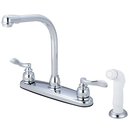 NuWave French Double Handle Kitchen Faucet with Side Spray by Kingston Brass
