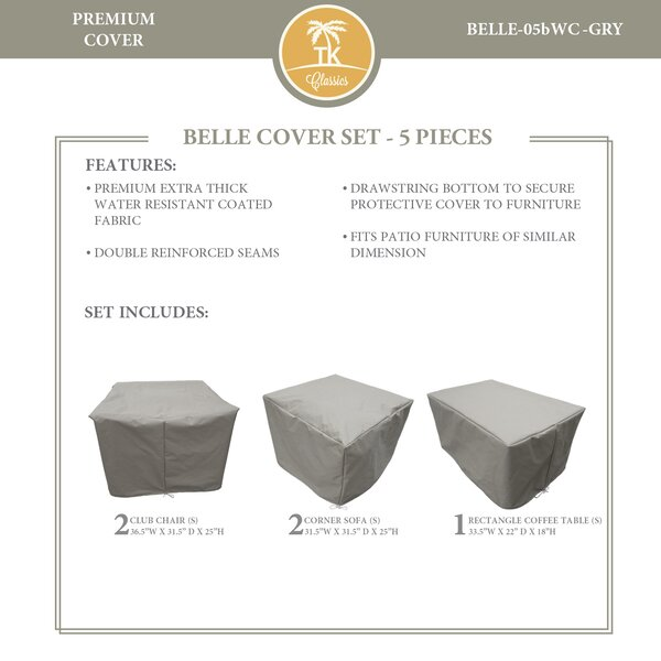 Bee 5 Piece Water Resistant Patio Furniture Cover Set by TK Classics