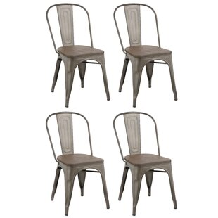 Linneus Industrial Metal Solid Wood Dining Chair (Set Of 4)