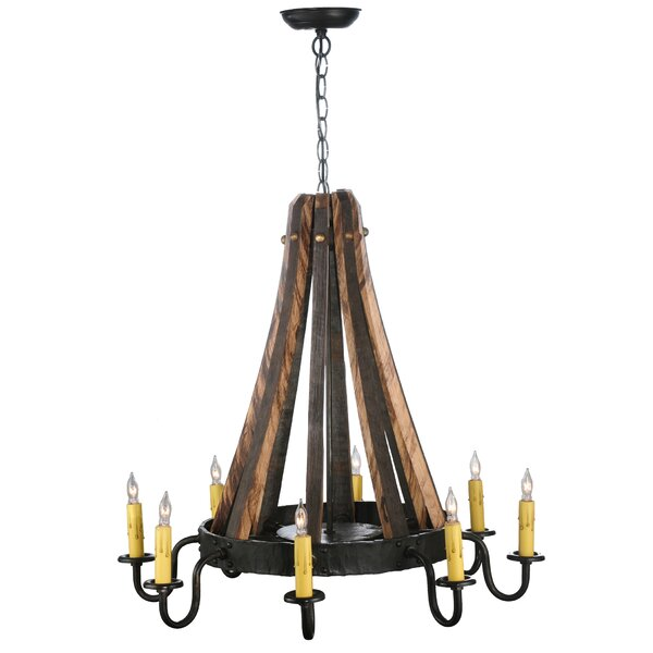 Barrel Stave Madera 8-Light Candle Style Wagon Wheel Chandelier By Meyda Tiffany