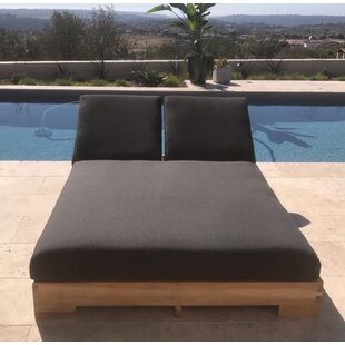 Seana Teak Outdoor Double Reclining Chaise Lounger With Cushion