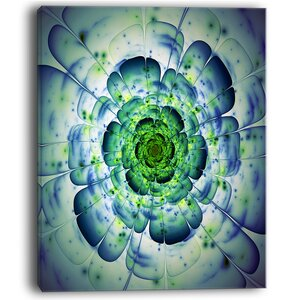 Large Blue Mandala Fractal Flower Large Floral Graphic Art on Wrapped Canvas by Design Art
