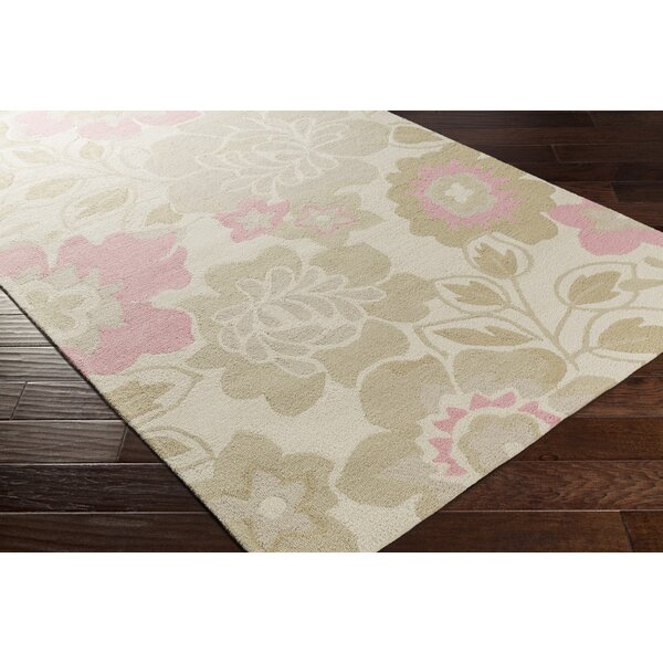 Blake Hand-Hooked Khaki Area Rug by Zoomie Kids