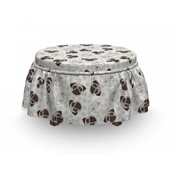 Shoping Dog Lover Pug Portraits Traces 2 Piece Box Cushion Ottoman Slipcover Set