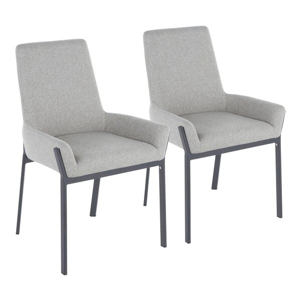 Abigale Odessa Upholstered Side Chair in Grey (Set of 2) by Foundry Select Foundry Select