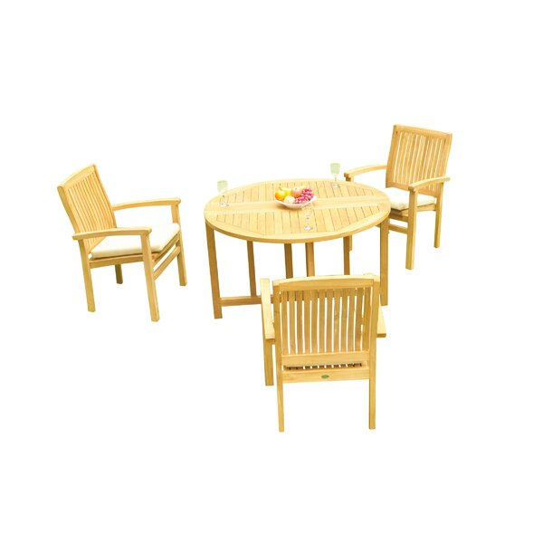 Masuda 4 Piece Teak Dining Set by Rosecliff Heights