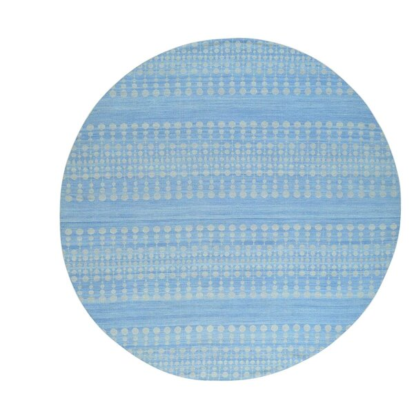 One-of-a-Kind Reversible Durie Kilim Flat Weave Hand-Knotted Sky Blue/Ivory Area Rug by Bungalow Rose
