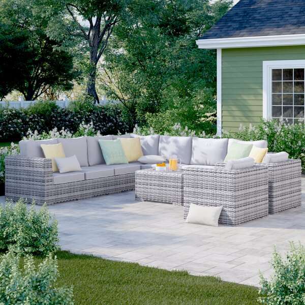 Letona Double Club 4 Piece Sectional Seating Group with Cushions by Sol 72 Outdoor