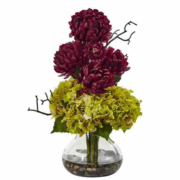 Hydrangea/Mum Floral Arrangement in Decorative Vase by Nearly Natural