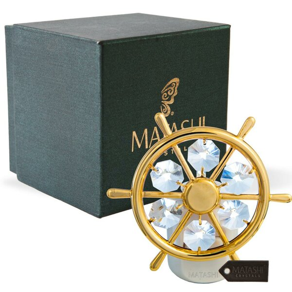 24K Gold Plated Crystal Studded Captains Wheel LED Night Light by Matashi Crystal