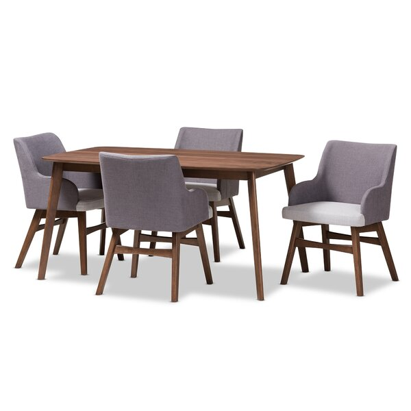 Dinger Mid-Century Wood Rectangular 5 Piece Dining Set by George Oliver