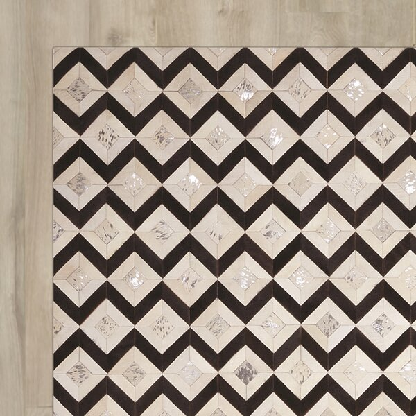 David Handmade Black/Cream Area Rug by Mercer41