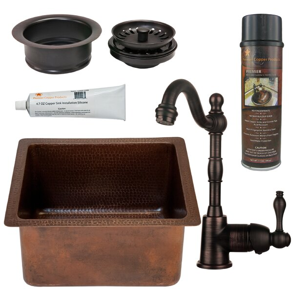 16 L x 14 W  Bar Sink with Faucet by Premier Copper Products