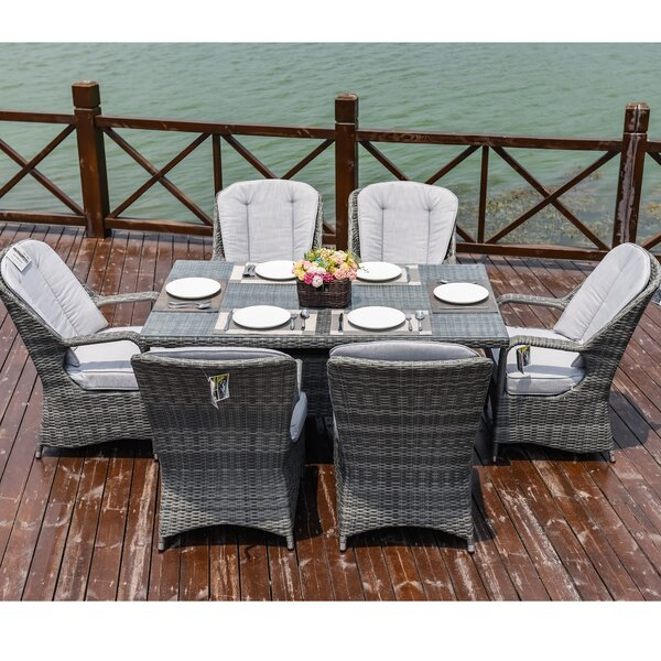 Carlisle 7 Piece Dining Set with Cushions by One Allium Way