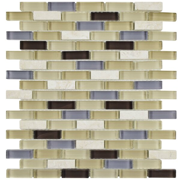 Sierra 0.58 x 1.88 Glass Mosaic Tile in Blue/Beige by EliteTile