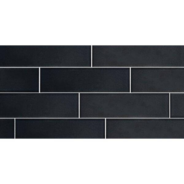 Secret Dimensions 3 x 12 Glass Subway Tile in Frosted Dark Gray by Abolos