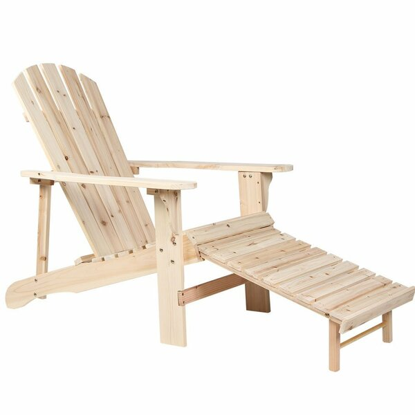 Tamayo Natural Wooden Adirondack Chair with Ottoman by Millwood Pines