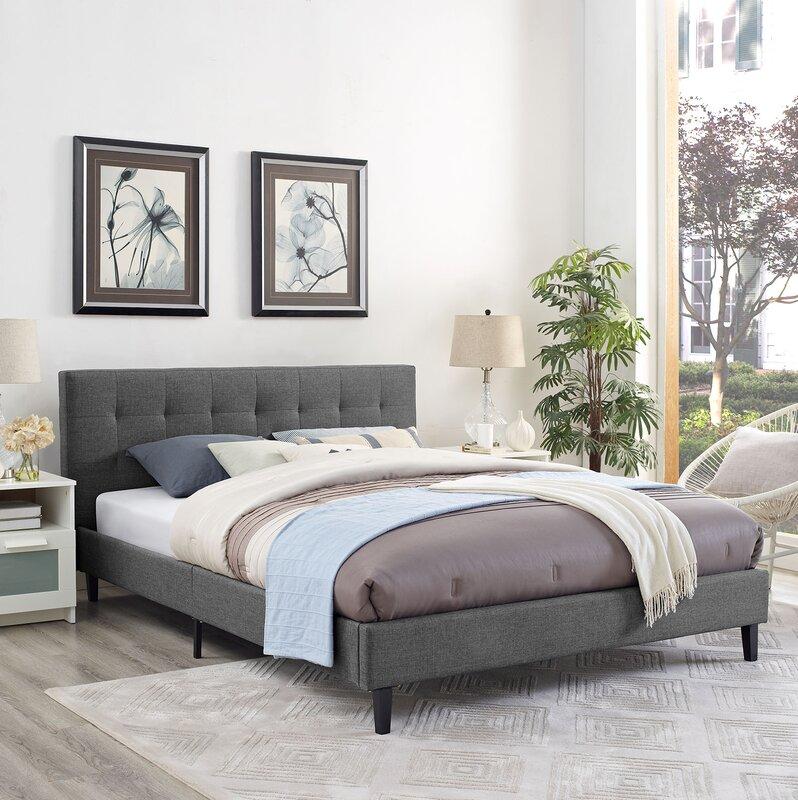 Wrought studio molinaro upholstered platform bed reviews for Linda platform customizable bedroom set