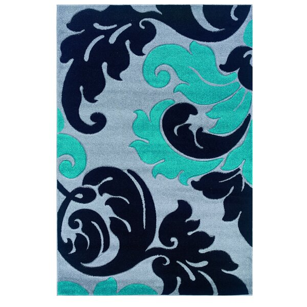 Grey/Turquoise Area Rug by Threadbind