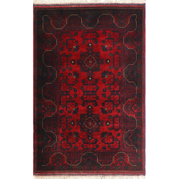 One-of-a-Kind Millar Neema Hand-Knotted Wool Red Are Rug by Bloomsbury Market