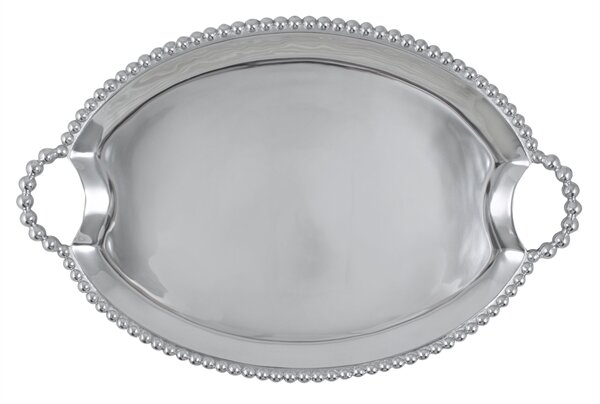 String of Pearls Oval Handled Serving Tray by Mariposa