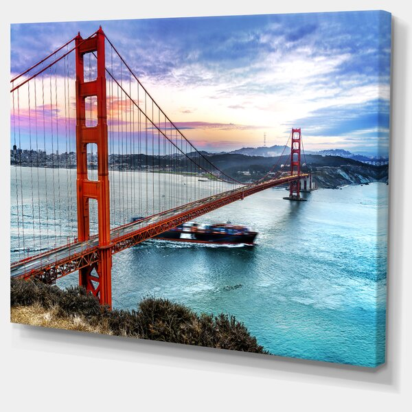 Golden Gate in San Francisco Sea Bridge Photographic Print on Wrapped Canvas by Design Art