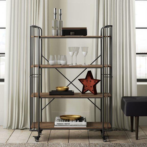 Kendleton 4 Tier Wood Shelf Metal Bar Cart by Greyleigh