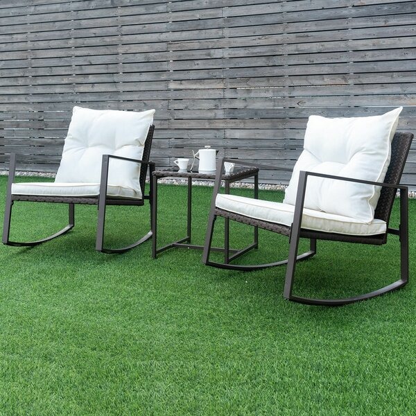 Xanthe 3 Pieces Rattan Conversation Set with Cushions