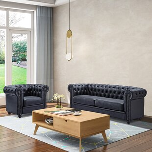 Herold 2 Piece Genuine Leather Configurable Living Room Set by Canora Grey