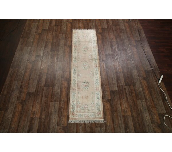 One-of-a-Kind Faith Peking Chinese Oriental Hand-Knotted Silk Pink Area Rug by Astoria Grand
