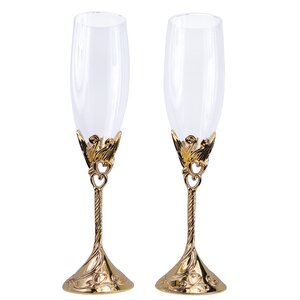 Lindy Hearts Wedding Champagne Flute (Set of 2)