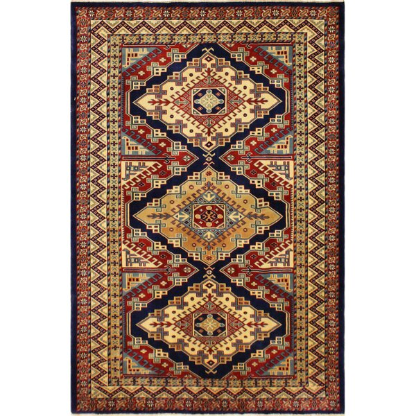 One-of-a-Kind Armillac Hand-Knotted Wool Blue/Ivory Area Rug by Bloomsbury Market