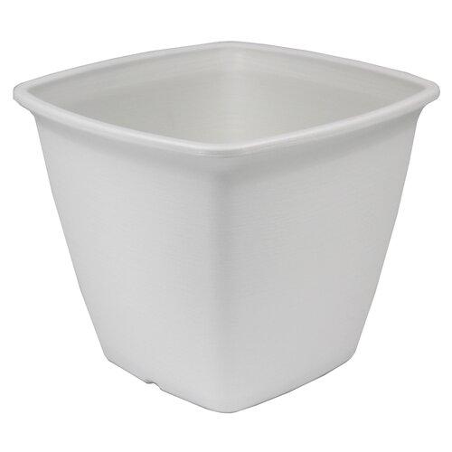 Square Plastic Plant Pot IRIS Colour: White, Size: 25.3cm H