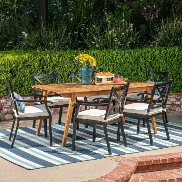 Macaulay 7 Piece Dining Set with Cushions by Bungalow Rose