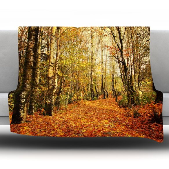 Autumn Leaves by Sylvia Cook Fleece Throw Blanket by KESS InHouse