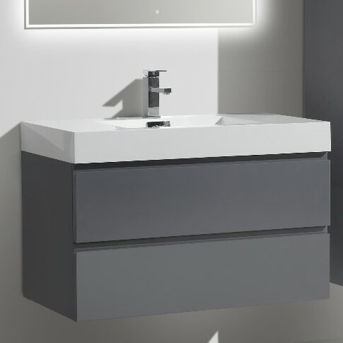 Leni 36 Wall Mounted Single Bathroom Vanity Set by Orren Ellis